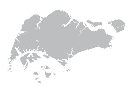 싱가포르의 회색지도 일러스트