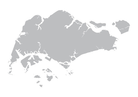 south east asia map: gray map of Singapore Illustration