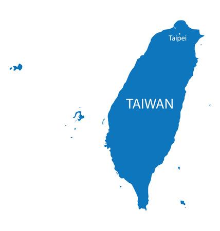 blauwe kaart van Taiwan met vermelding van Taipei