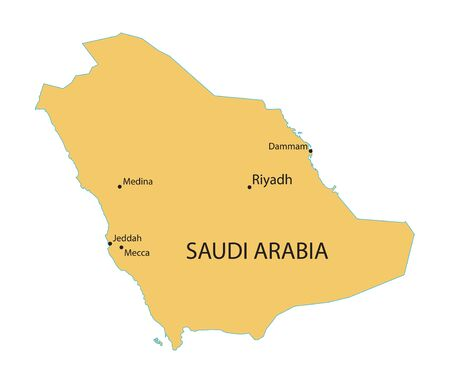 largest: yellow map of Saudi Arabia with indication of largest cities
