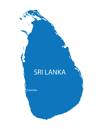 colombo: blue map of Sri Lanka with indication of Colombo