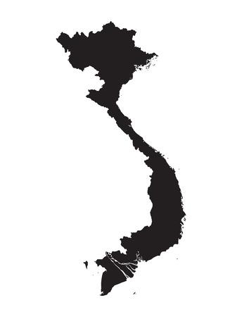 indochina peninsula: Black vector map of Vietnam