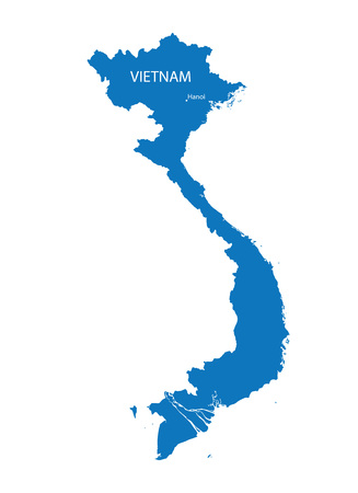 indochina peninsula: Blue vector map of Vietnam with indication of Hanoi