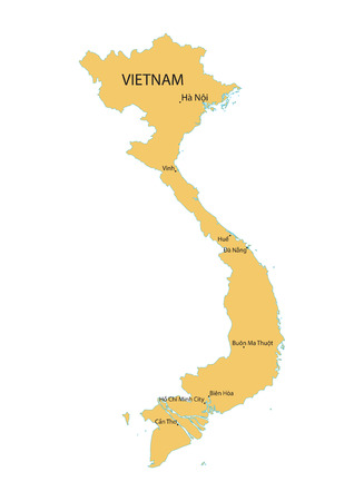 indochina peninsula: yellow vector map of Vietnam with indication of largest cities Illustration
