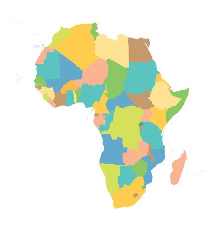 mapa politico: colorido vector de la correspondencia de �frica