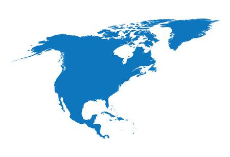 carte bleue de l'Amérique du Nord