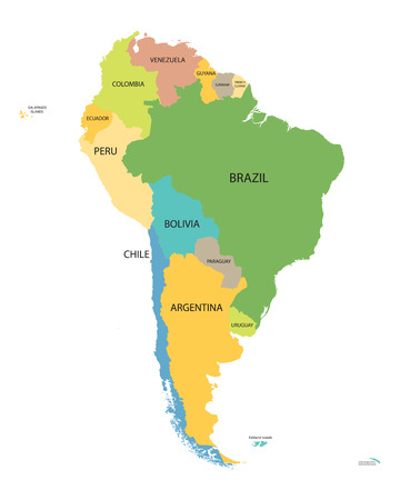 colrful map of South America with names of all countries