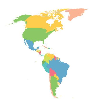 carte colorée de l'Amérique du Nord et du Sud Banque d'images - 43285075