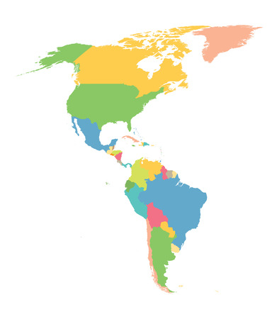 colorful map of North And South America