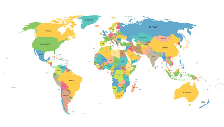 world map: colorful word map with names of all countries