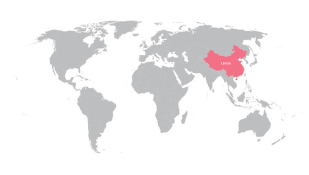 Grey vector world map with indication of China