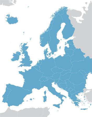 Blue Europe vector map  イラスト・ベクター素材