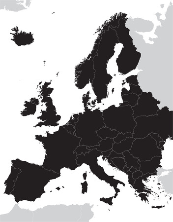 black Europe vector map