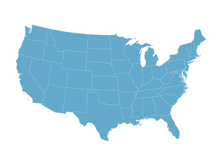 silhouette america: blue map of the United States