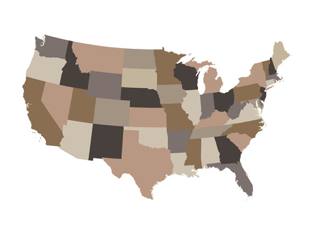 territorial: brown map of the United States