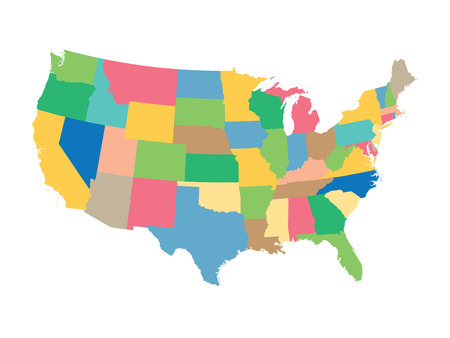 usa: colorful map of the United States