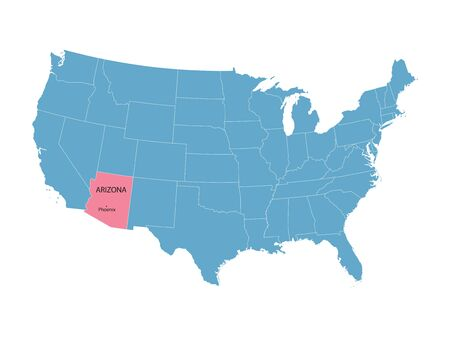 territorial: vector map of the United States with indication of Arizona