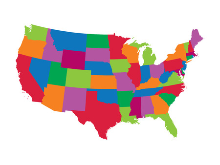Colorful United States map Illustration