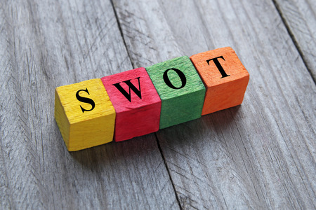 economic theory: SWOT text on colorful wooden cubes
