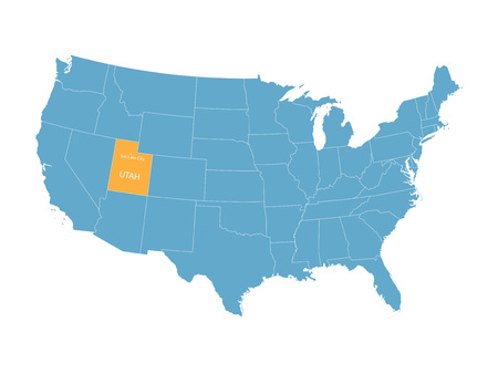 orange county: vector map of the United States with indication of Utah Illustration