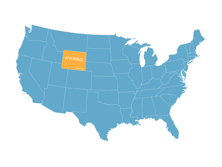 orange county: vector map of the United States with indication of Wyoming
