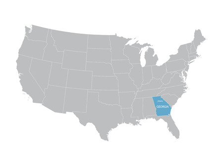 territorial: vector map of the United States with indication of Georgia