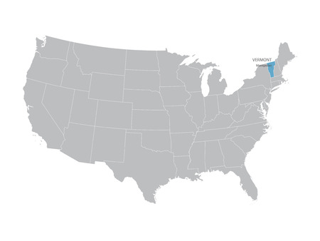 indication: United States map with indication of Vermont