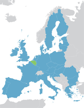 Europe and the European Union map with indication of Belgium Ilustração