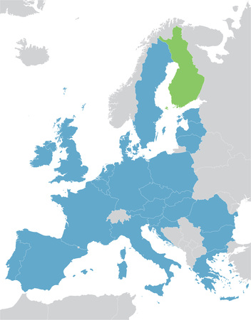 indication: Europe and the European Union map with indication of Finland Illustration