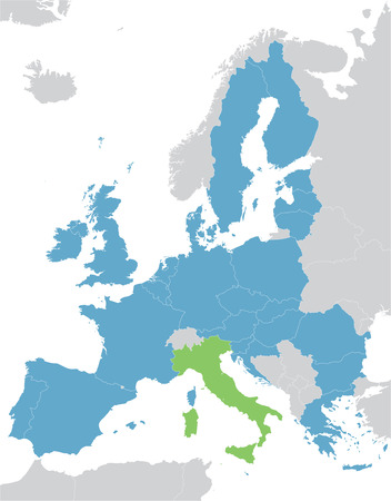 central europe: Europe and the European Union map with indication of Italy