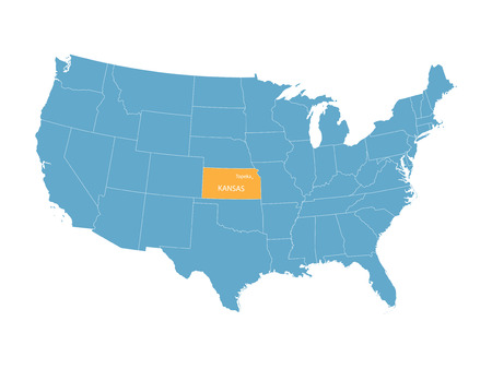 territorial: vector map of the United States with indication of Kansas Illustration