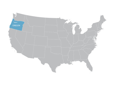 vector map of the United States with indication of Oregon