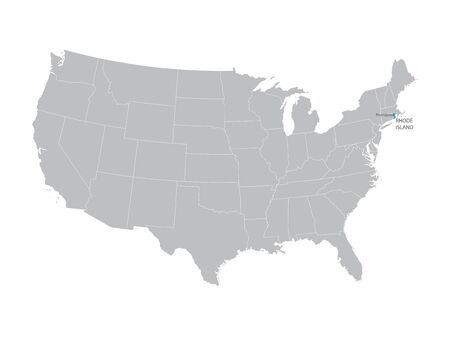 territorial: vector map of the United States with indication of Rhode Island