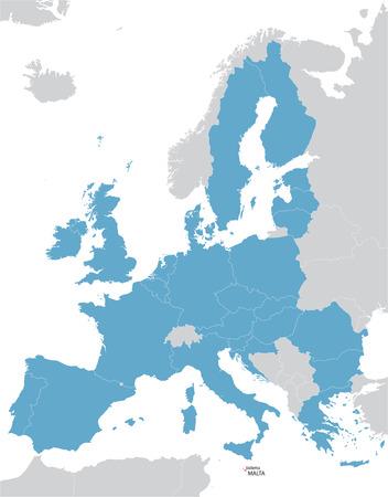 유럽과 유럽 연합 (EU)은 몰타의 표시와 함께지도 일러스트