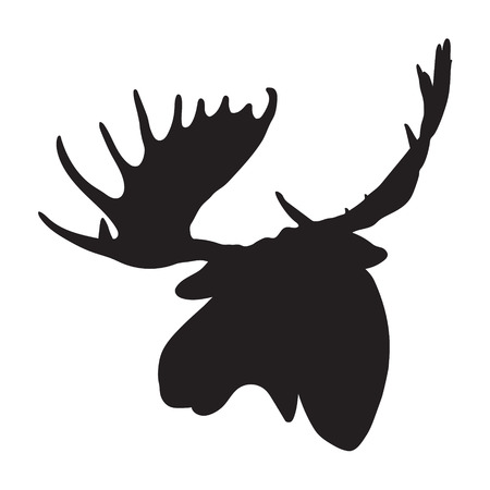 siluetas de animales: Vector alce la cabeza Vectores