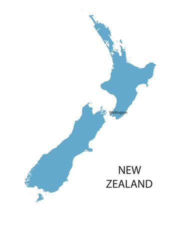 Blue map of New Zealand with indication of Wellington Ilustrace