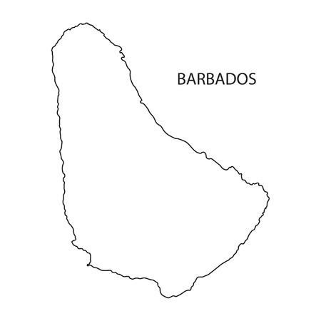 antilles: outline of Barbados maps