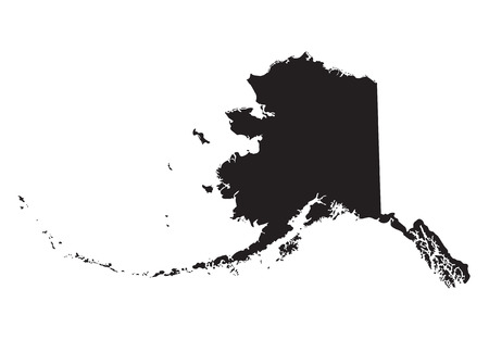 Black map of Alaska 向量圖像