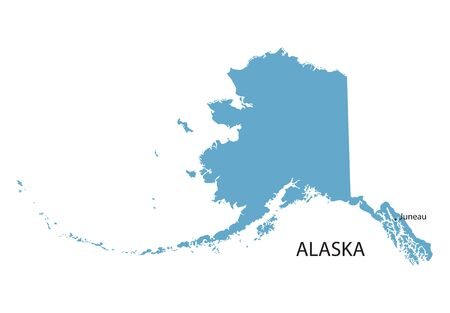 map of the united states: Blue map of Alaska with indication of Juneau