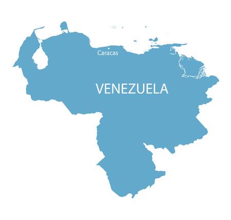 caracas: blue map of Venezuela with indication of Caracas