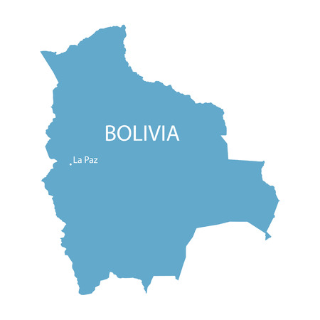 geography map: blue map of Bolivia with indication of La Paz