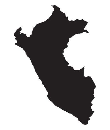 mapa del peru: El mapa negro del Perú Vectores