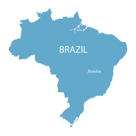 geography map: Blue map of Brazil with indication of Brasilia