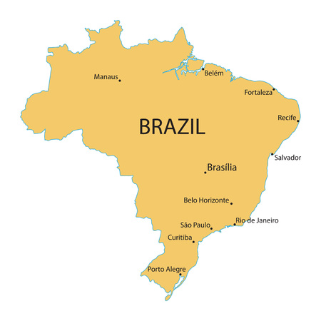 largest: map of Brazil with indication of largest cities