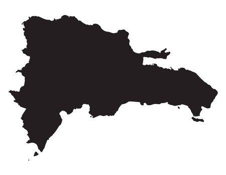 dominican republic: Black map of Dominican Republic
