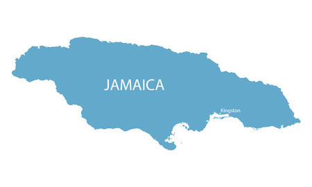 kingston: blue map of Jamaica with indication of Kingston Illustration