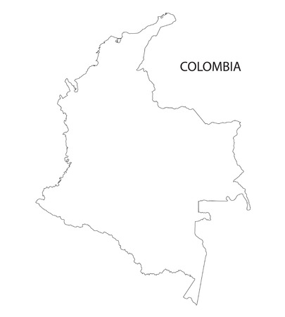colombia: outline of Colombia map Illustration