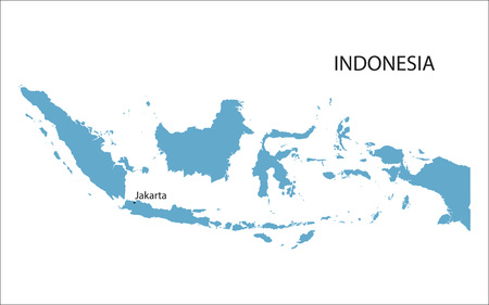 vacation map: blue map of Indonesia with indication of Jakarta
