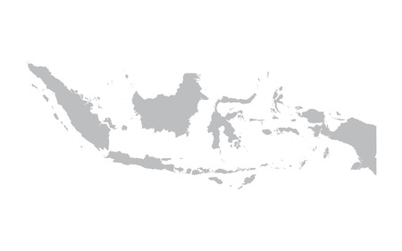 gray map of Indonesia 矢量图像