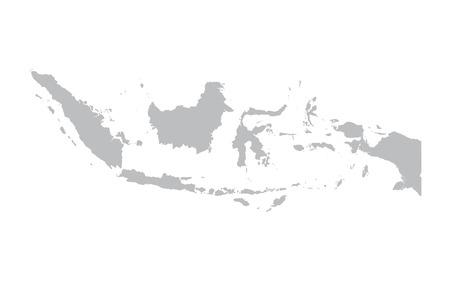 grijze kaart van Indonesië Stock Illustratie